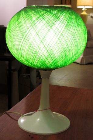 70's era table lamp. Spun green fiberglass shade. SOLD