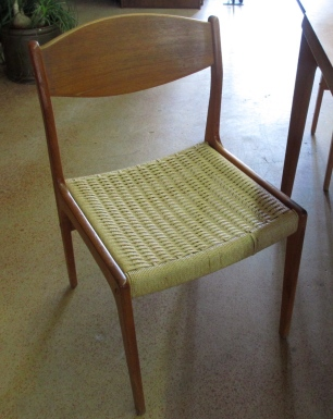 Danish paper rope chairs, set of 4.