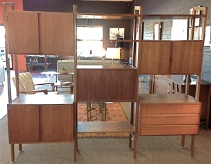 "Scandinavian style modular wall unit. Walnut. 78"" x 83"" x 16'5"". $995"