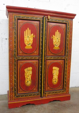 "KISHANGARH, INDIA, painted ""personal"" cabinet, in excellent antique condition. $495"