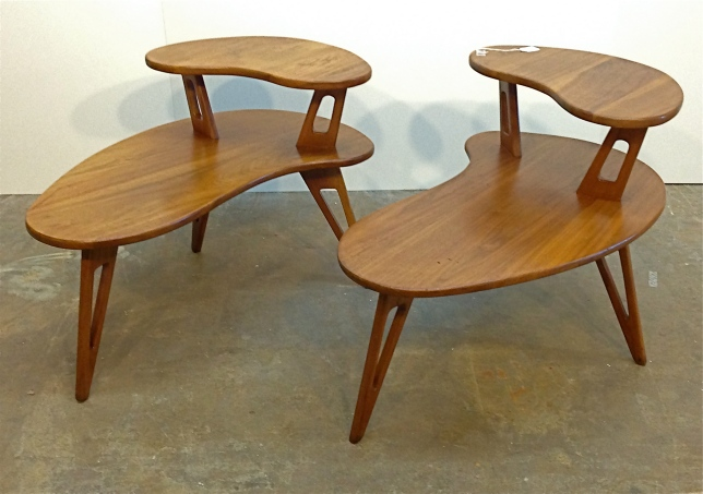 "Custom two-tier end tables, made in the style of Pearsall, in solid walnut, 32"" x 22"" x 22.5""."