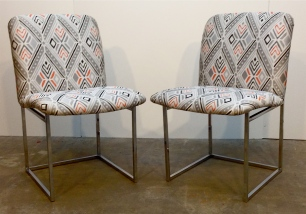 Pair BAUGHMAN Chrome Dining Chairs (*)