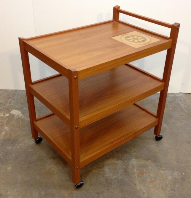 Denmark-stamped 3-tier teak serving/bar cart with tile trivet inlay.