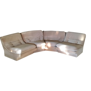 "1980'S KAGAN waterfall velvet 4-pc sectional sofa/slipper/lounge chairs. EACH SECTION: 30""W x 34.5""D x 28.5""H"
