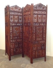 "Vintage 4-panel teak screen, hand carved, bronze hinges. BOHO style. 86""W x 73""H x 1""D."