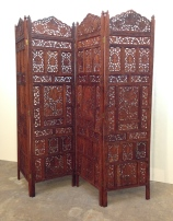 "4-panel teak screen, hand carved, bronze hinges. BOHO style. 86""W x 73""H x 1""D."