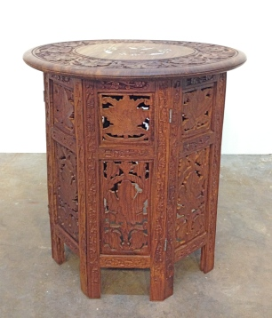 Inlaid teak side table