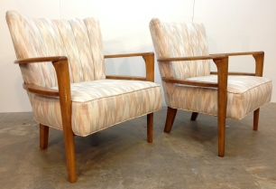 "Pair of Heywood Wakefield armchairs in excellent condition, Maple. Recent earthtones flame-stitch upholstery professionally done. CHAIR: 31""H x 29""W x 31""D; SEAT: Front 16"", Center cushion 18""."
