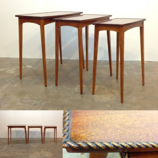 "Beautiful set of tall nesting tables. !960's. Heights from 23.75"" to 25""."