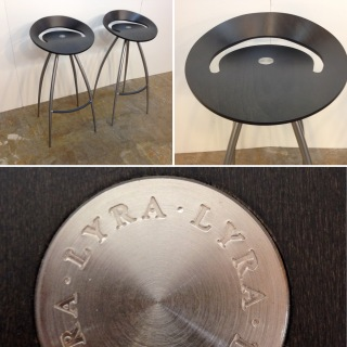 Vintage 60's Magis LYRA barstools. Black finish. Professionally restored. Two available.
