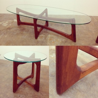 "Vintage Adrian Pearsall ""Ribbon"" table; side and surfboard top cocktail."