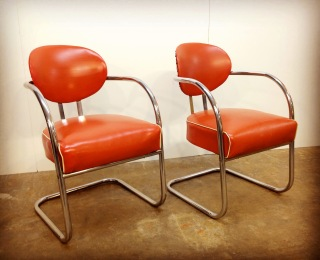 Pair of KEM Weber machine age cantilever chairs. Vintage 1930's.