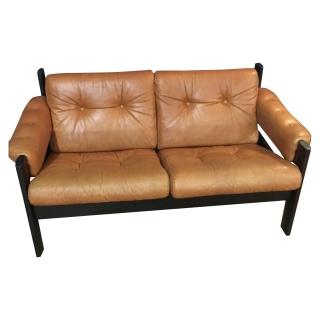 "EKORNES ""Amigo"" settee. Early 80's. Leather."