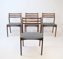 Vintage rsewood dining chairs. for Brdr Tromborgs Eftl. New upholstery. set of four. $800.
