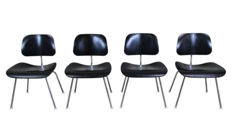 Circa 2000, set of four ebonized EAMES DCM side chairs. $1100
