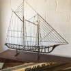 """C. Jere' Signed Dated Brass Schooner. Stand or wall mount. Brass with original patina circa 1976. 45""""H x 46""""L x 7.5""""W. $525.00"""